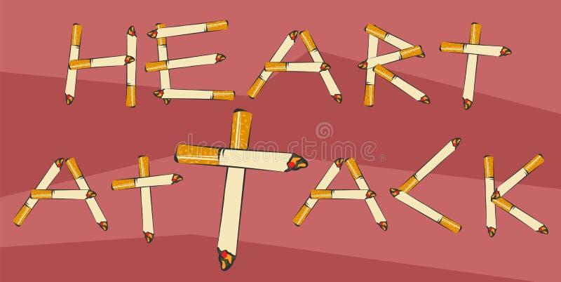 Rotulação do cardíaco de ataque feita dos cigarros Fumar conduz ao conceito do cardíaco de ataque Ilustração do vetor para a anti ilustração do vetor