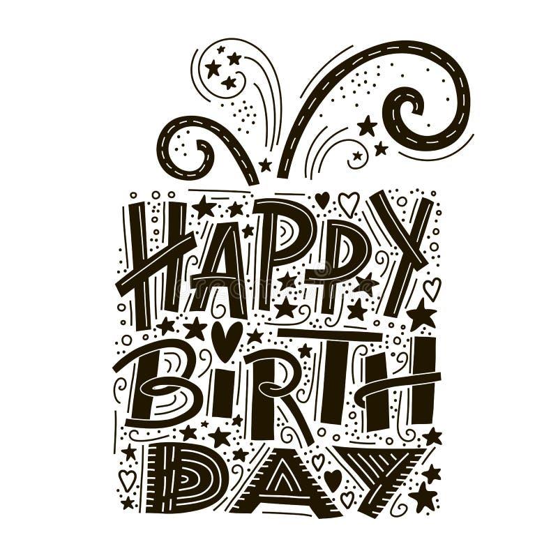 Rotulação do cartão do feliz aniversario Convite tirado mão Fundo da tipografia Texto da celebração handwriting ilustração do vetor