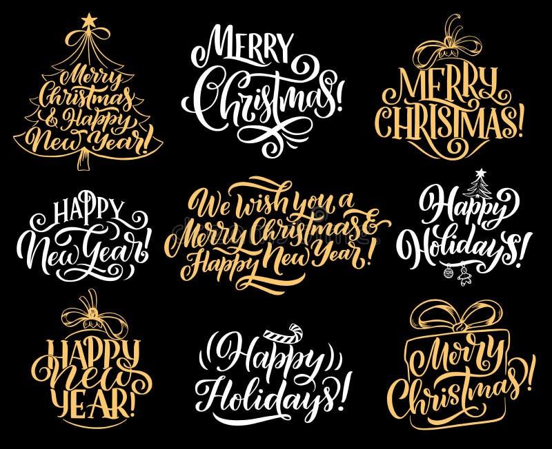Rotulação do cumprimento do vetor do feriado do Feliz Natal ilustração royalty free