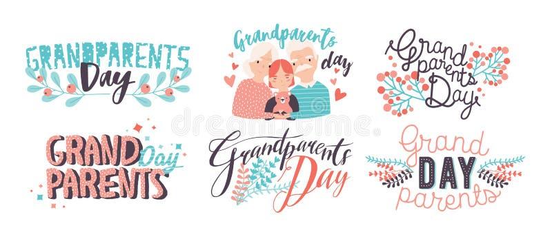 Rotulação do dia das avós Mão diferente inscrição coloridas tiradas com fontes encaracolado e elementos da decoração ilustração stock