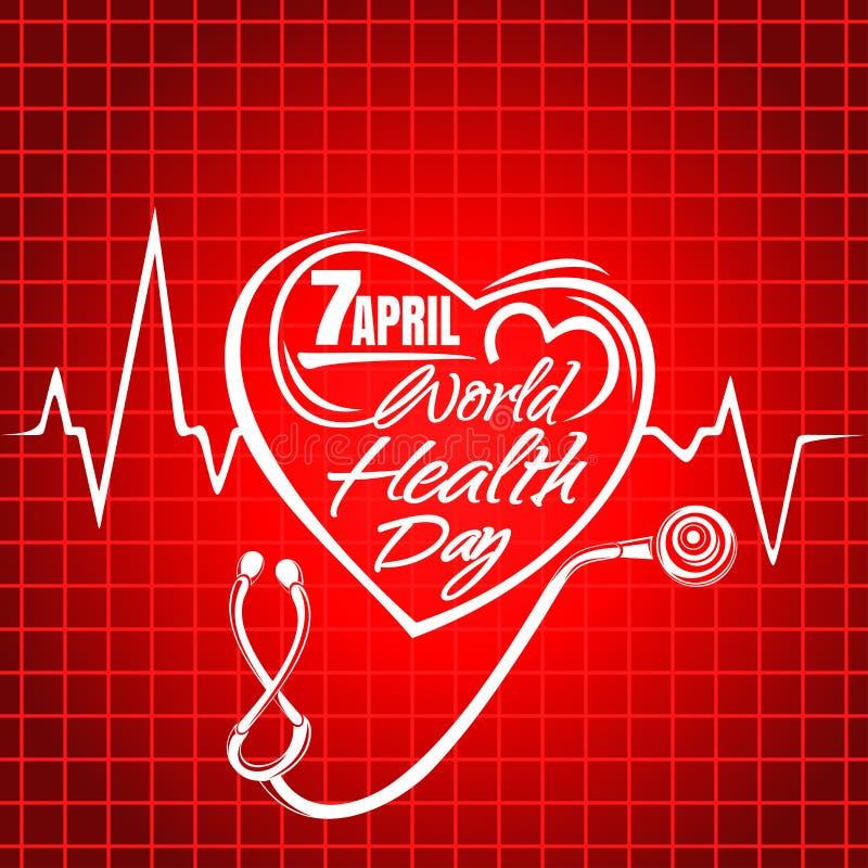 Rotulação do dia de saúde de mundo Projeto do texto do conceito ilustração royalty free