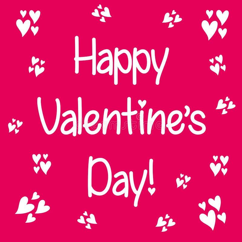 Rotulação do dia do ` s do Valentim Molde escrito mão do cartão com canto do coração para o dia de Valentim ilustração do vetor