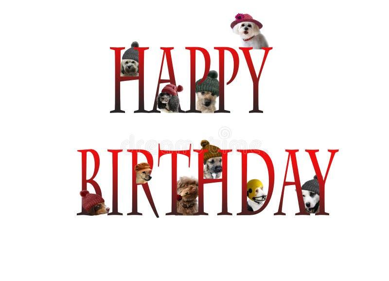 Rotulação do feliz aniversario com cães imagens de stock