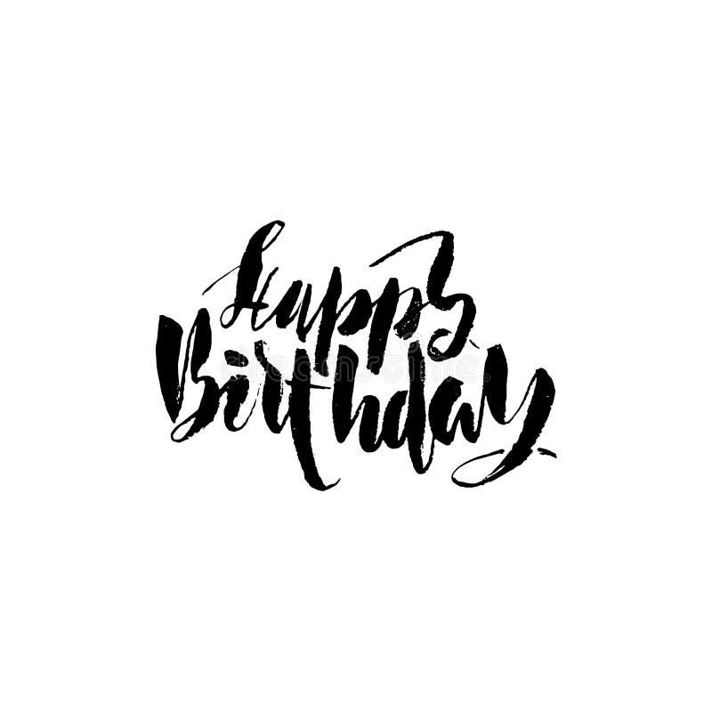 Rotulação do feliz aniversario para o convite e o cartão, as cópias e os cartazes Inscrição tirada mão, caligráfica ilustração stock