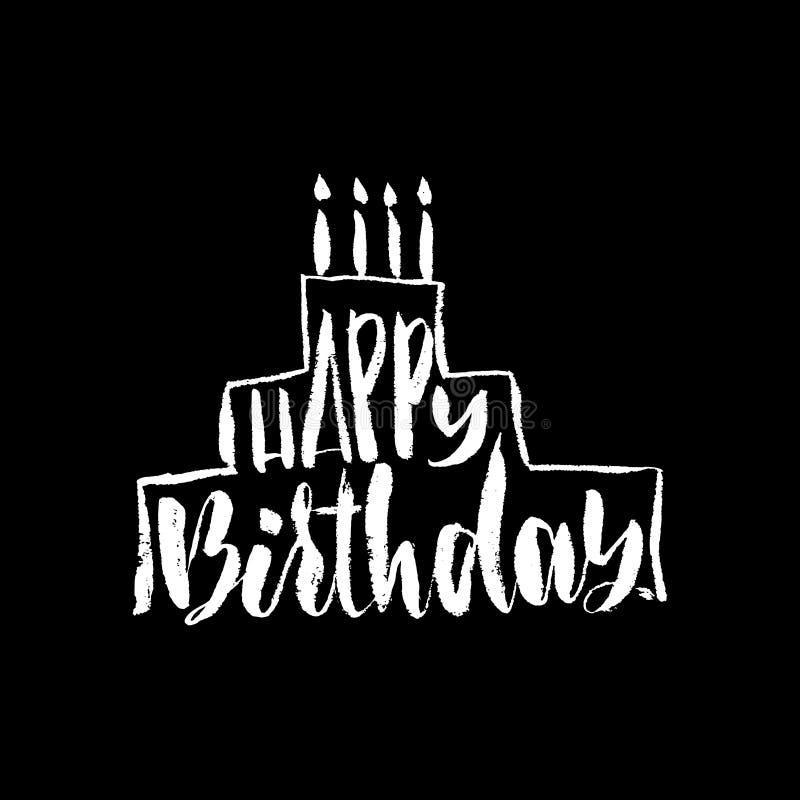 Rotulação do feliz aniversario para o convite e o cartão, as cópias e os cartazes Inscrição tirada mão, caligráfica ilustração do vetor
