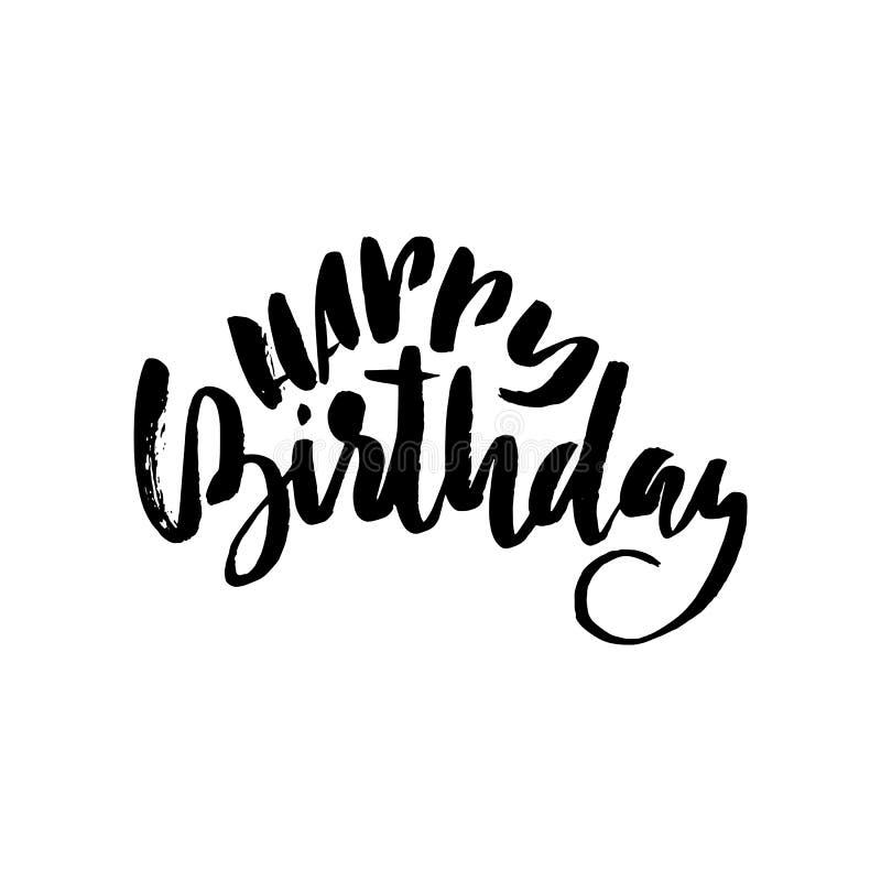 Rotulação do feliz aniversario para o convite e o cartão, as cópias e os cartazes Inscrição tirada mão, caligráfica ilustração royalty free