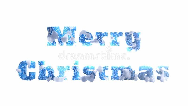 Rotulação do Feliz Natal escrita pelo gelo rachado congelado coberto pela neve isolada no fundo branco ilustração 3D ilustração stock