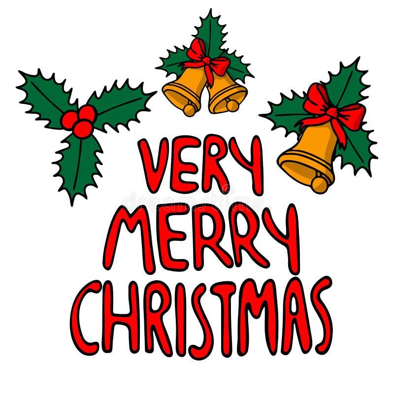 A rotulação do Feliz Natal mesmo da frase isolado em um fundo branco, handbell e azevinho amarelos deixa a decoração do Natal ilustração do vetor