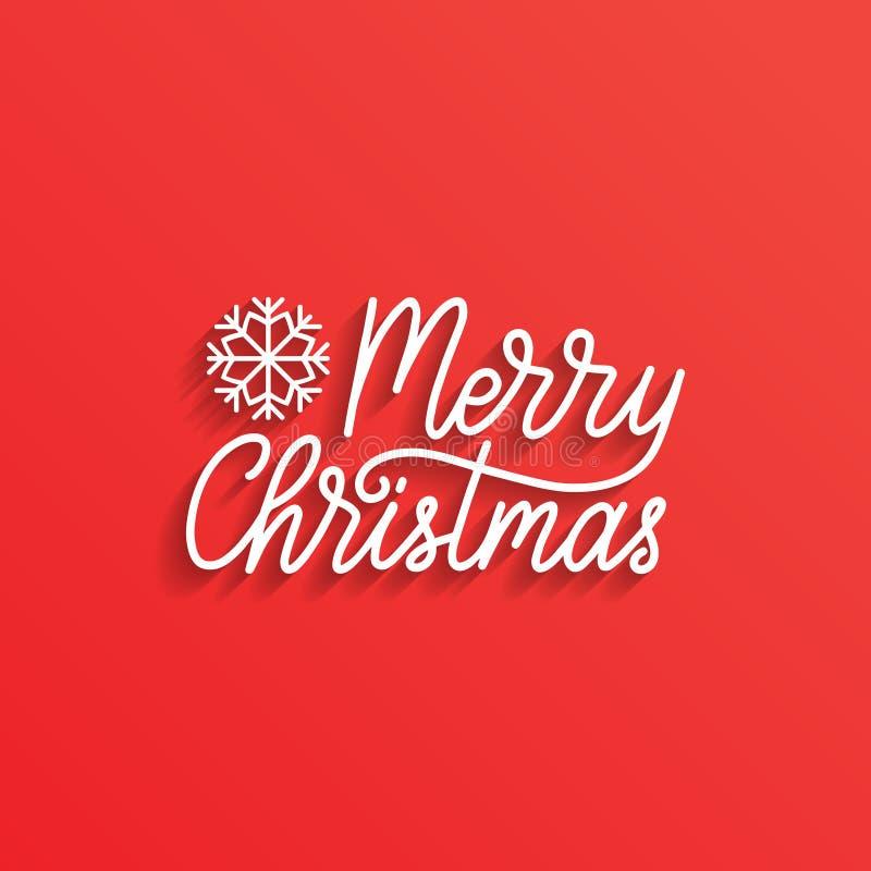 Rotulação do Feliz Natal do vetor Tipografia da natividade Boas festas cartão, molde do cartaz ilustração stock