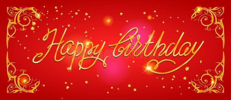 Rotulação do feriado do feliz aniversario ilustração do vetor
