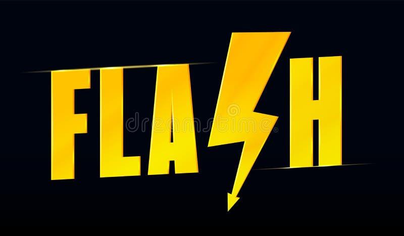 Rotulação do flash com ícone estilizado do raio ilustração stock