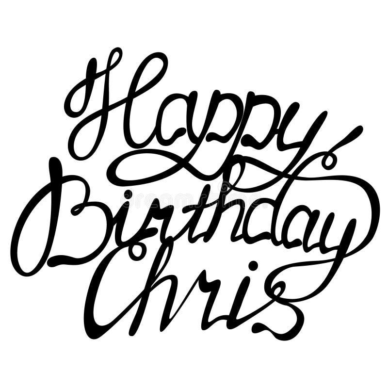 Rotulação do nome de chris do feliz aniversario ilustração royalty free