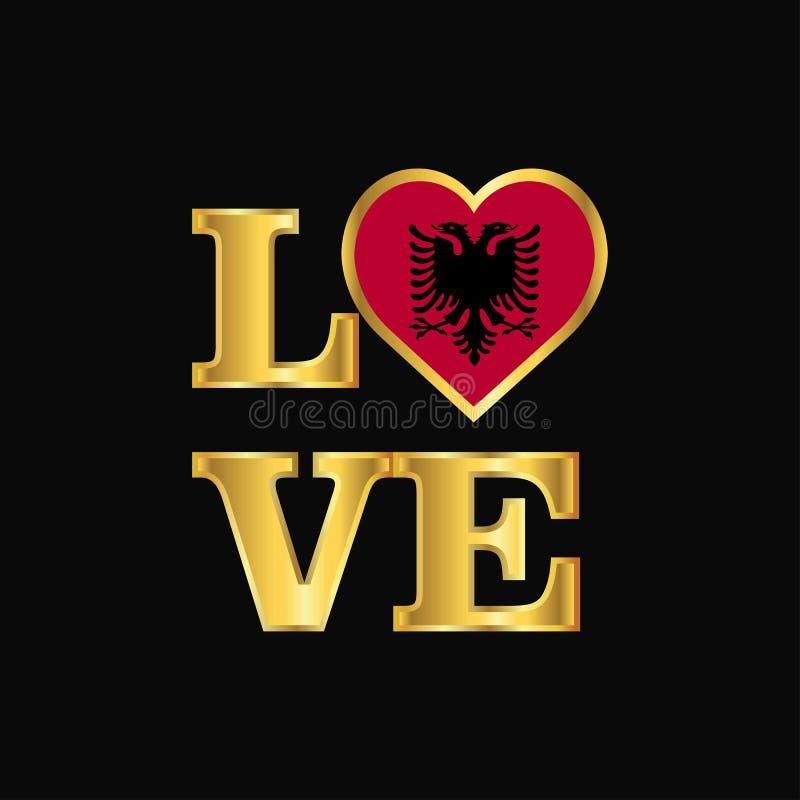 Rotulação do ouro do vetor do projeto da bandeira de Albânia da tipografia do amor ilustração royalty free