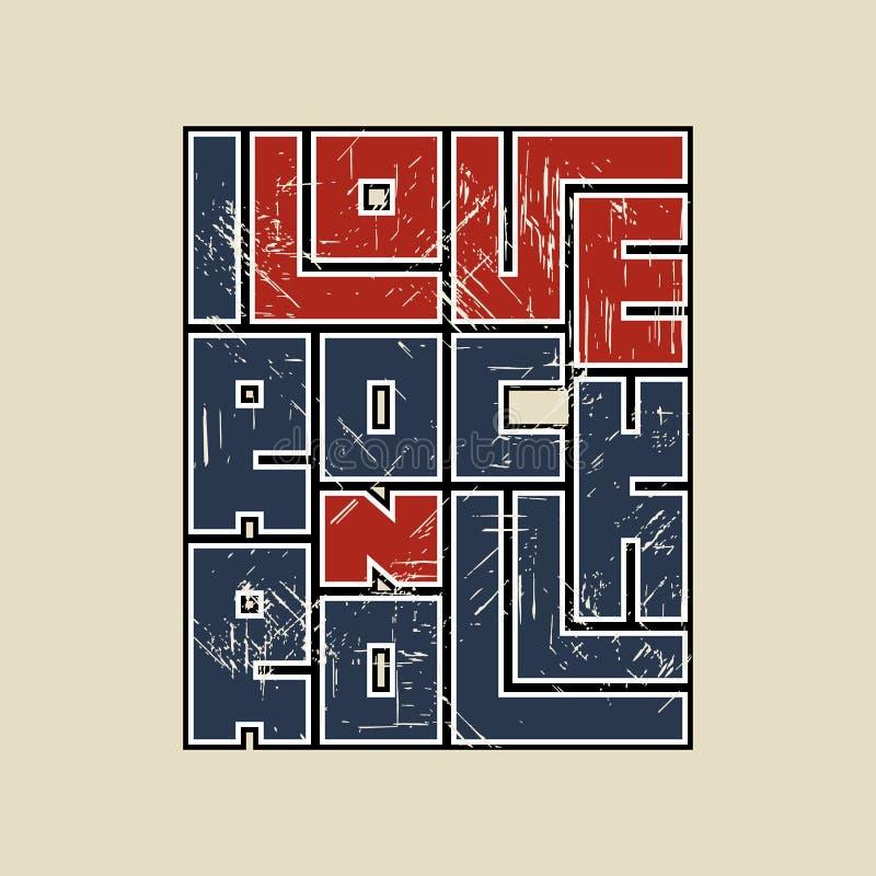 Rotulação do rolo da rocha n com efeito do grunge Projeto da forma do t-shirt Molde para a bandeira, etiqueta, inseto do concerto ilustração royalty free