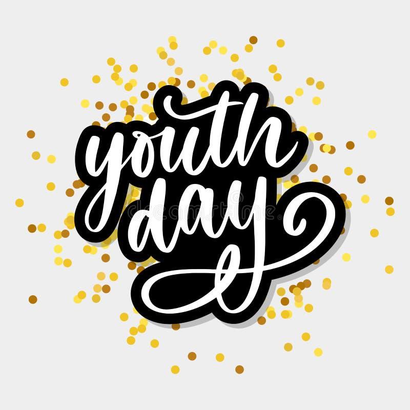 Rotulação do slogan amarelo do fundo do dia internacional da juventude ilustração stock