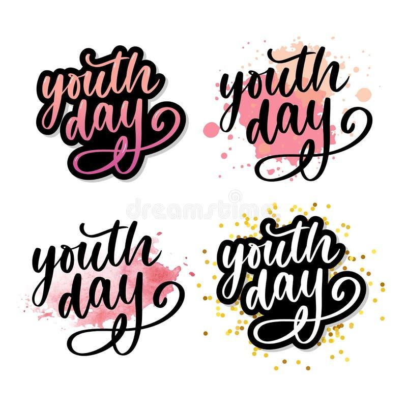 Rotulação do slogan amarelo do fundo do dia internacional da juventude ilustração royalty free