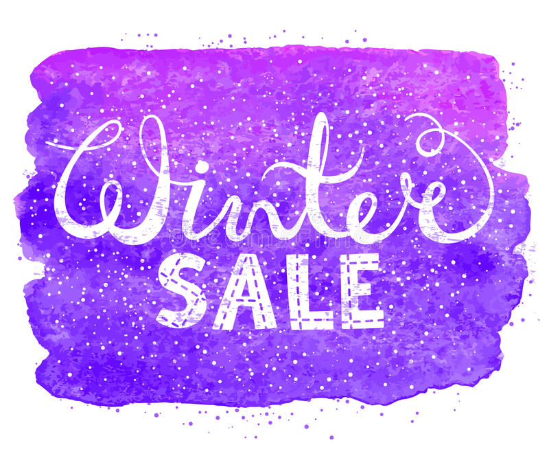 Rotulação do texto da venda do inverno no fundo da aquarela Conceito sazonal da compra para projetar bandeiras, preço ou etiqueta ilustração royalty free