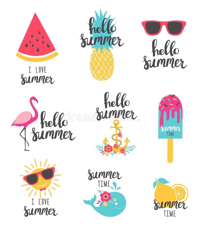 Rotulação do verão ajustada com elementos do feriado Melancia, abacaxi, limão ilustração stock
