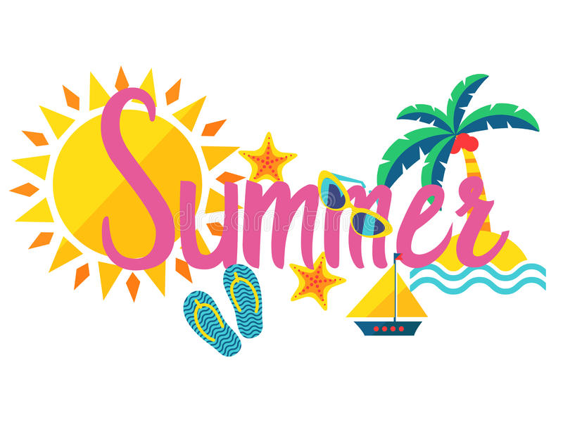 Download Rotulação Do Verão Isolada No Fundo Branco Ilustração do Vetor - Ilustração de coral, colorido: 69477647
