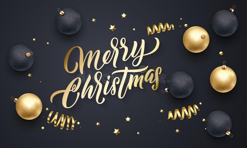 Rotulação dourada da caligrafia do Feliz Natal, estrelas do ouro do Xmas, decoração dos confetes das bolas Backgro do preto do fe ilustração stock