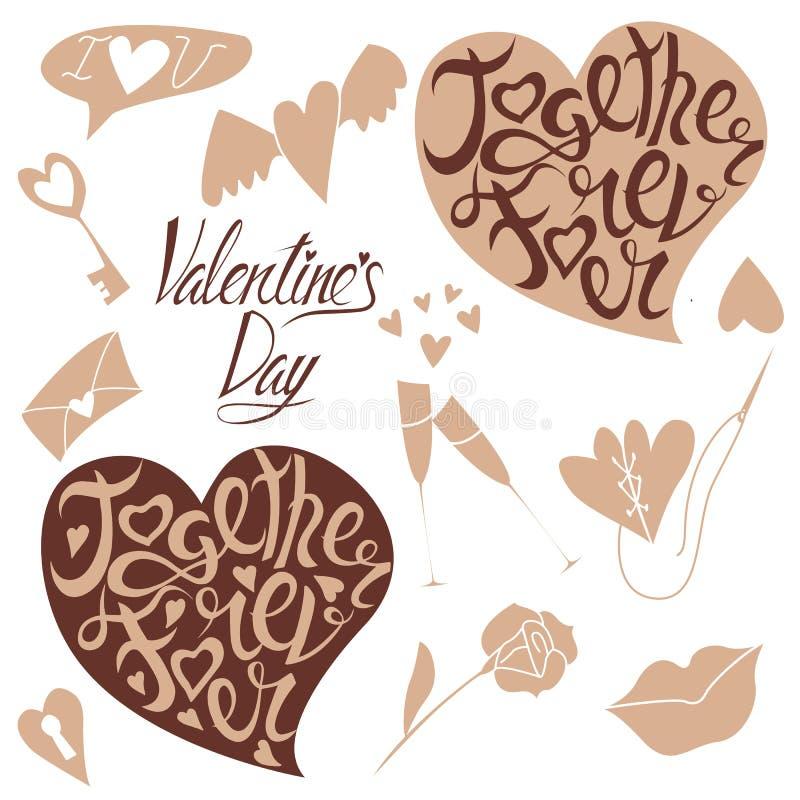 Rotulação e garatujas para o dia de Valentim ilustração do vetor