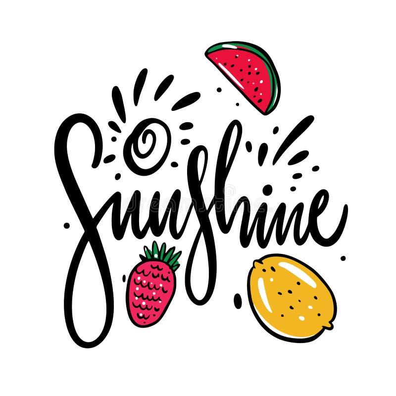 A rotulação e os frutos da luz do sol entregam a ilustração tirada do vetor Estilo dos desenhos animados ilustração stock