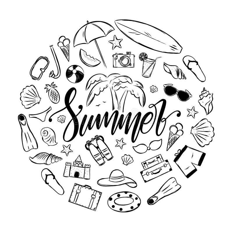Rotulação elegante escrita à mão da escova do verão com grupo de elementos das férias Decoração tropical da viagem ilustração royalty free