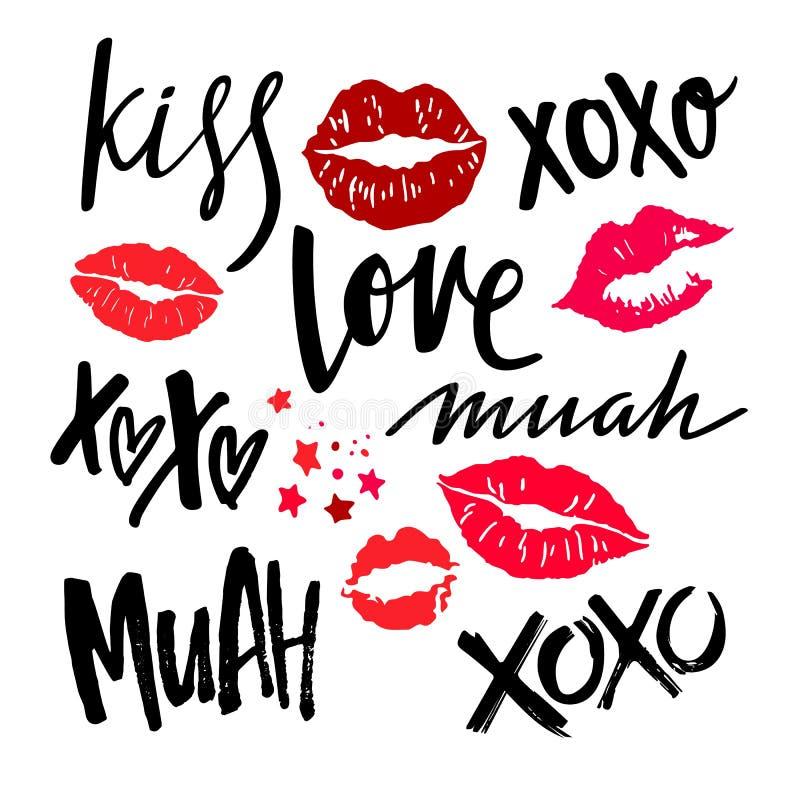 Rotulação escrita à mão com os bordos vermelhos da mulher Beijos do batom do vetor XOXO, amor, beijo e frases de Muah no dia de V ilustração stock
