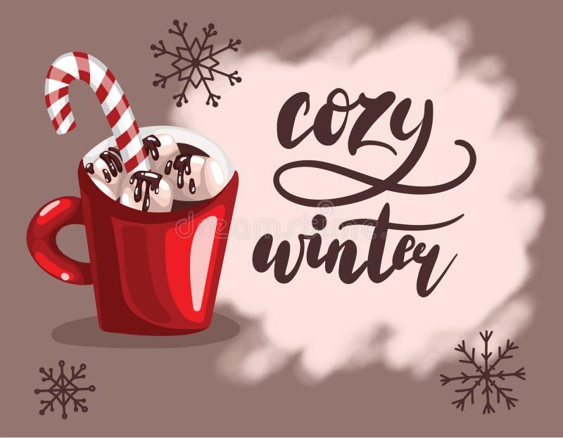 Rotulação escrita à mão com xícara de café ou chocolate vermelho com o bastão do marshmallow e do caramelo Vetor acolhedor do inv ilustração do vetor