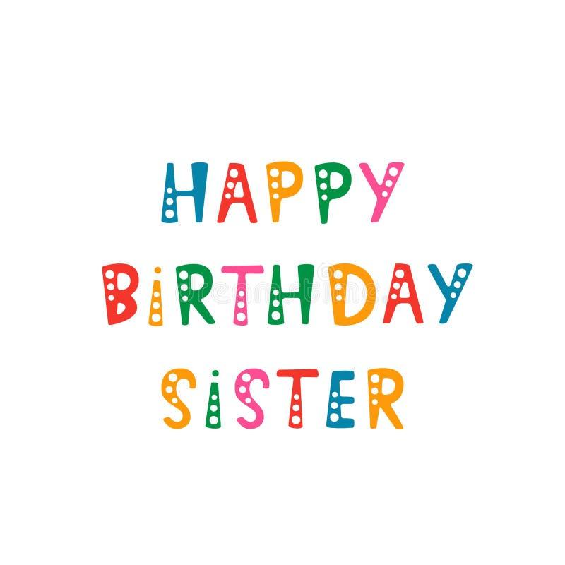 Rotulação escrita à mão da irmã do feliz aniversario no fundo branco fotografia de stock