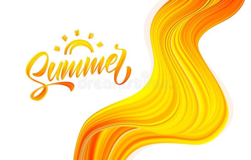 Rotulação escrita à mão da pintura acrílica do curso da escova do verão com Sun no fundo abstrato do fluxo ilustração royalty free