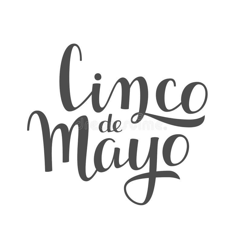 Rotulação escrita à mão de Cinco de Mayo no fundo branco ilustração stock