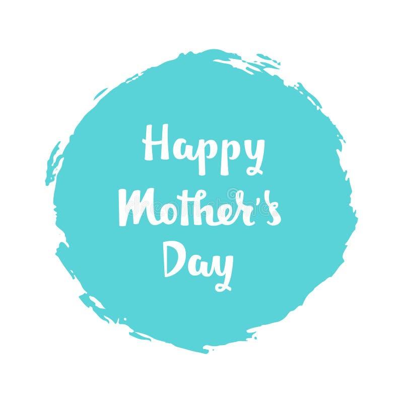 Rotulação escrita à mão do dia de mães feliz no fundo azul imagem de stock royalty free