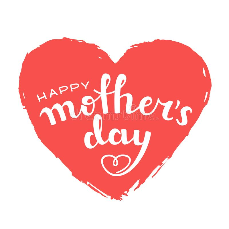 Rotulação escrita à mão do dia feliz do ` s da mãe no fundo branco ilustração do vetor