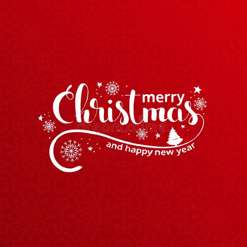 Rotulação escrita à mão do Feliz Natal sobre o backgroun vermelho do feriado ilustração royalty free