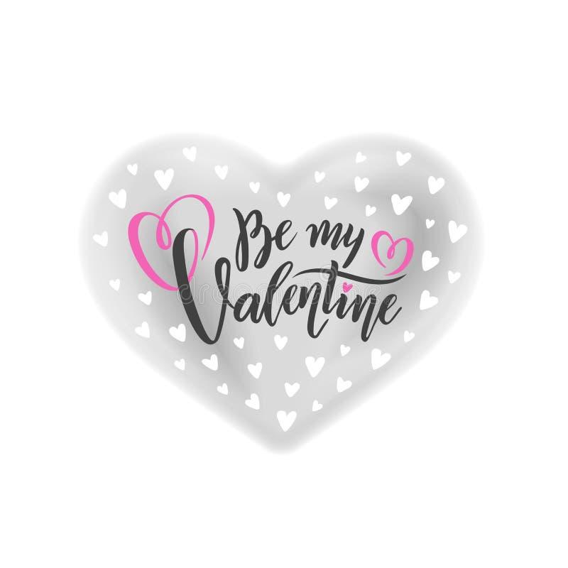 A rotulação escrita à mão romântica do vetor seja meu Valentim O dia de Valentim do texto da caligrafia no efeito cinzento da aqu ilustração royalty free