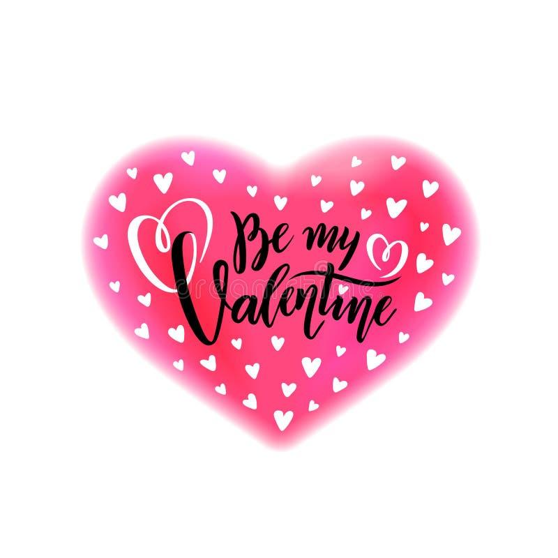 A rotulação escrita à mão romântica do vetor seja meu Valentim O dia de Valentim do texto da caligrafia no efeito cor-de-rosa da  ilustração royalty free