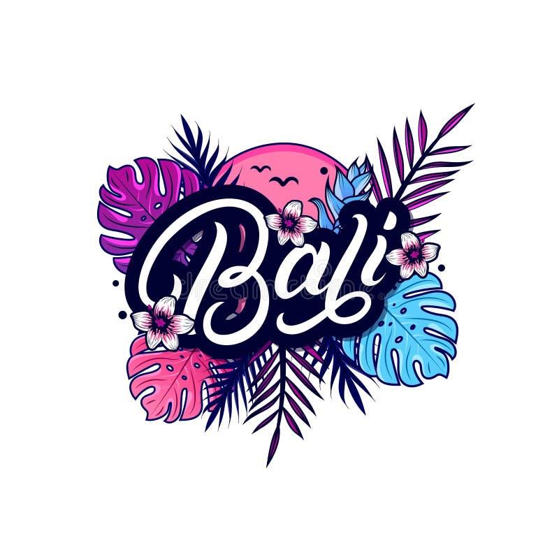 Rotulação escrita mão de Bali com palma ilustração stock