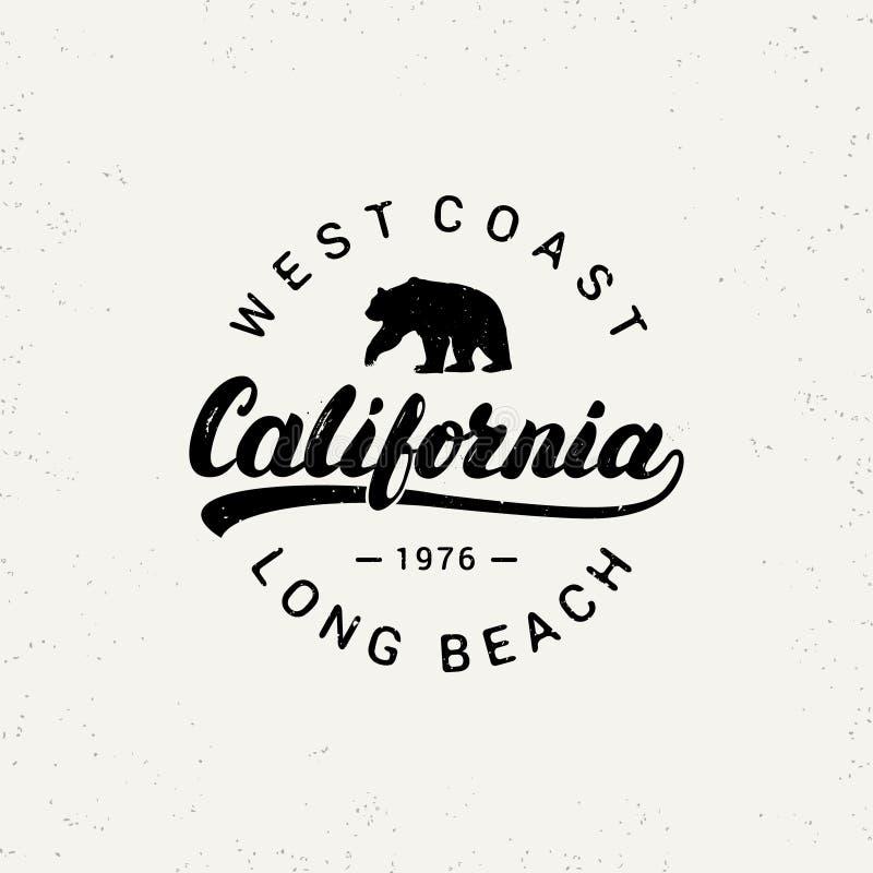 Rotulação escrita mão de Califórnia com urso ilustração royalty free