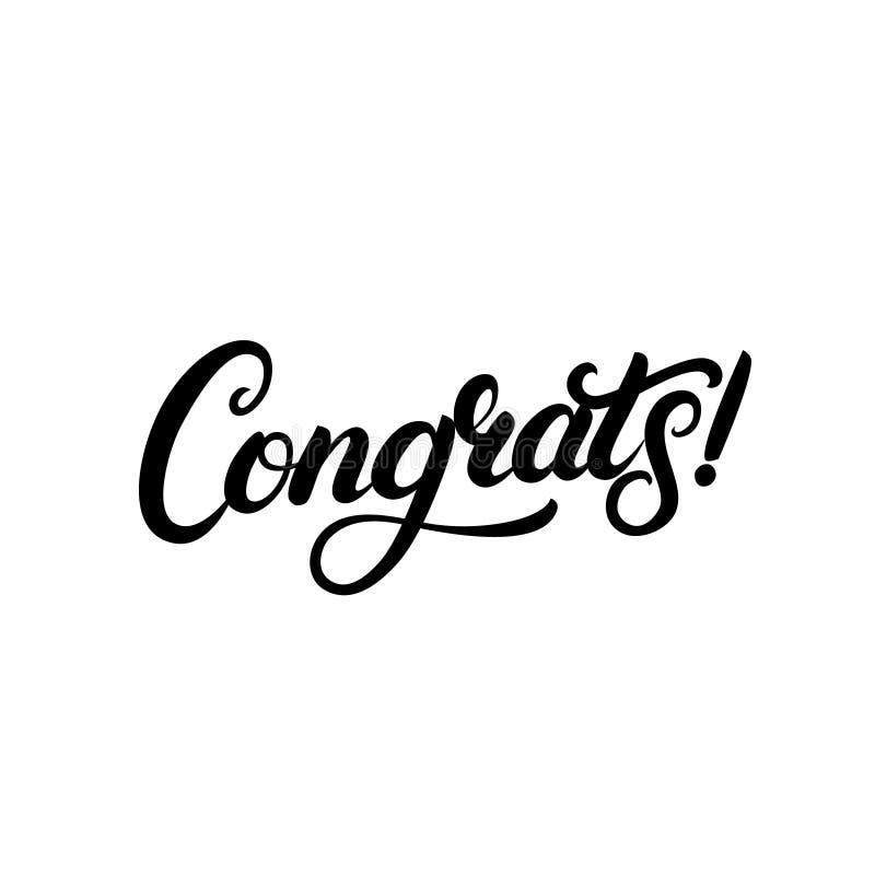 Rotulação escrita mão de Congrats para o cartão, o cartão, o convite, o cartaz e a cópia das felicitações ilustração stock
