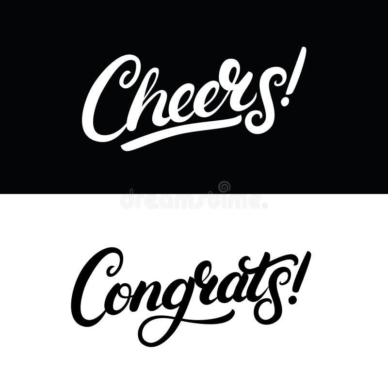 Rotulação escrita mão dos elogios e do Congrats para o cartão, o convite, o cartaz e a cópia ilustração royalty free