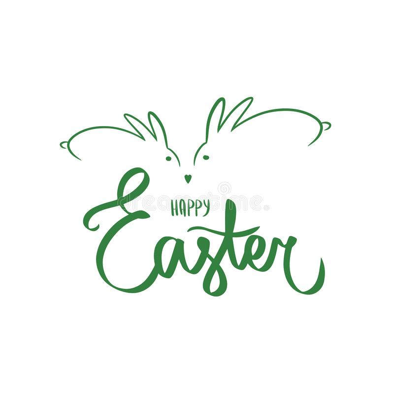 Rotulação feliz da mão da escova de easter da cor verde no fundo branco Cartão do feriado, cartão Sinal do vetor com coelho verde ilustração stock