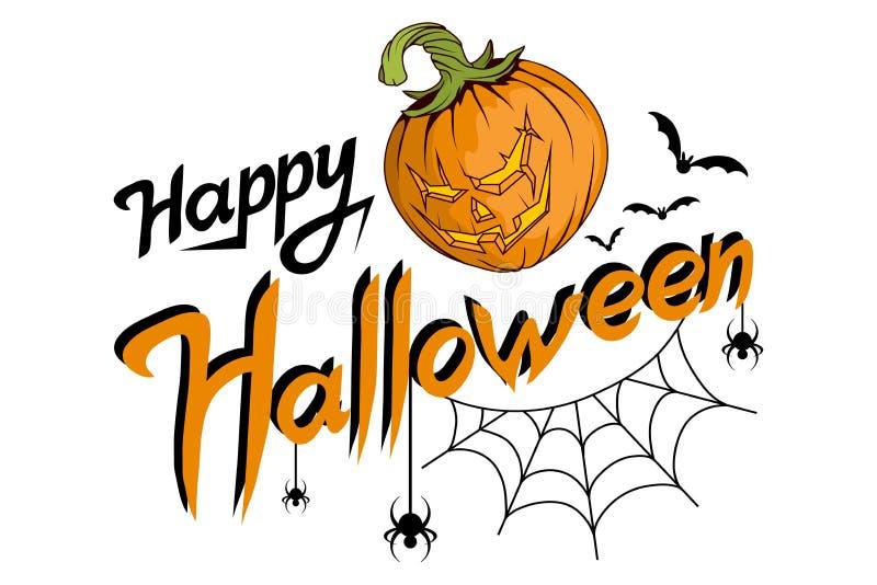 Rotulação feliz de Dia das Bruxas, rotulação tirada mão do feriado com Web e aranha, doçura ou travessura, texto feliz do Dia das ilustração stock
