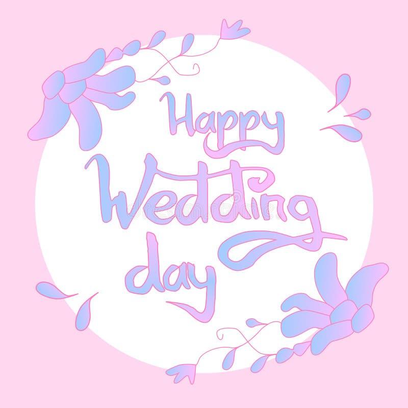 Rotulação feliz do dia do casamento fotografia de stock