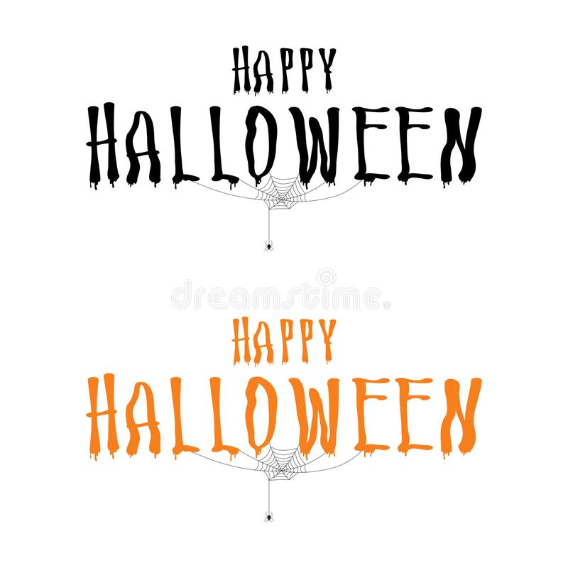 Rotulação feliz do Dia das Bruxas com aranha e Web Calligr de Dia das Bruxas ilustração stock