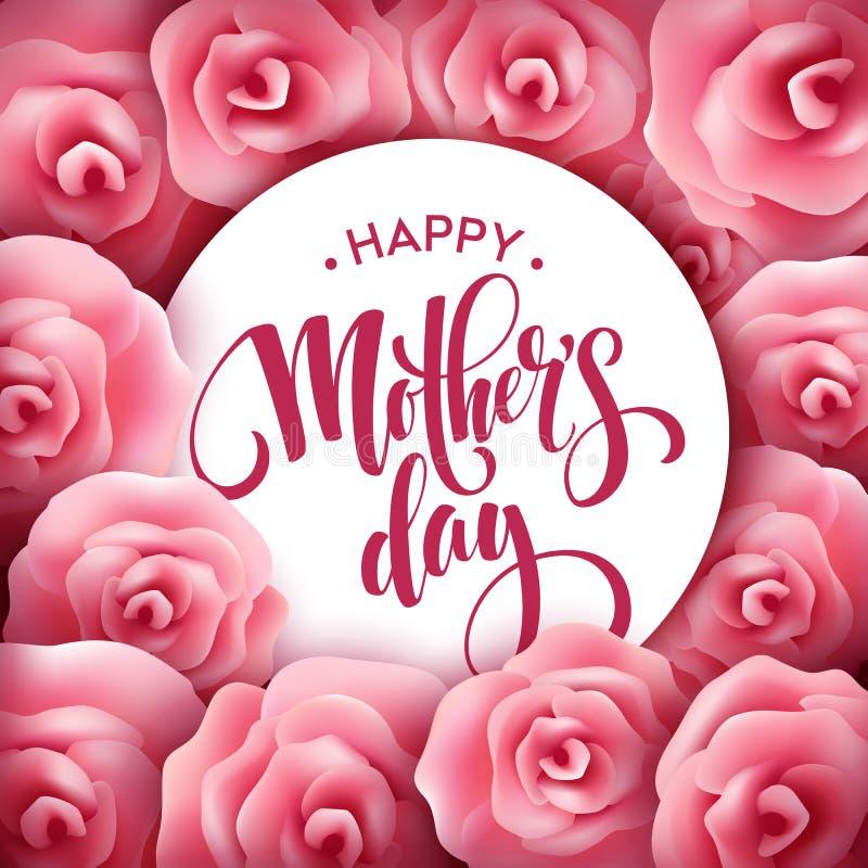 Rotulação feliz do dia de mães Cartão do dia de mães com Rose Flowers cor-de-rosa de florescência Ilustração do vetor ilustração stock