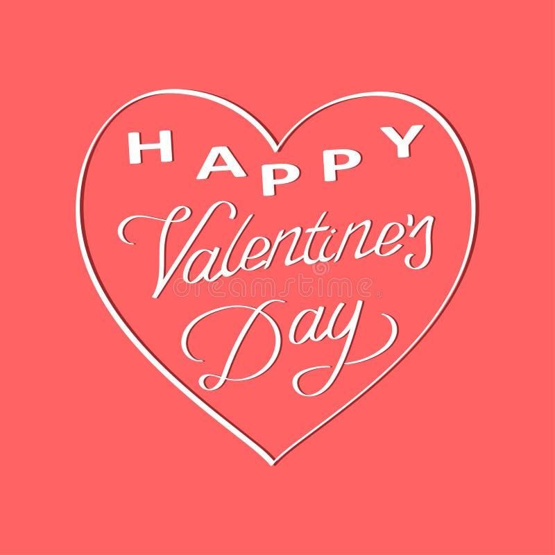 Rotulação feliz do dia de Valentim com coração branco Fundo do dia do ` s do Valentim Vetor ilustração royalty free
