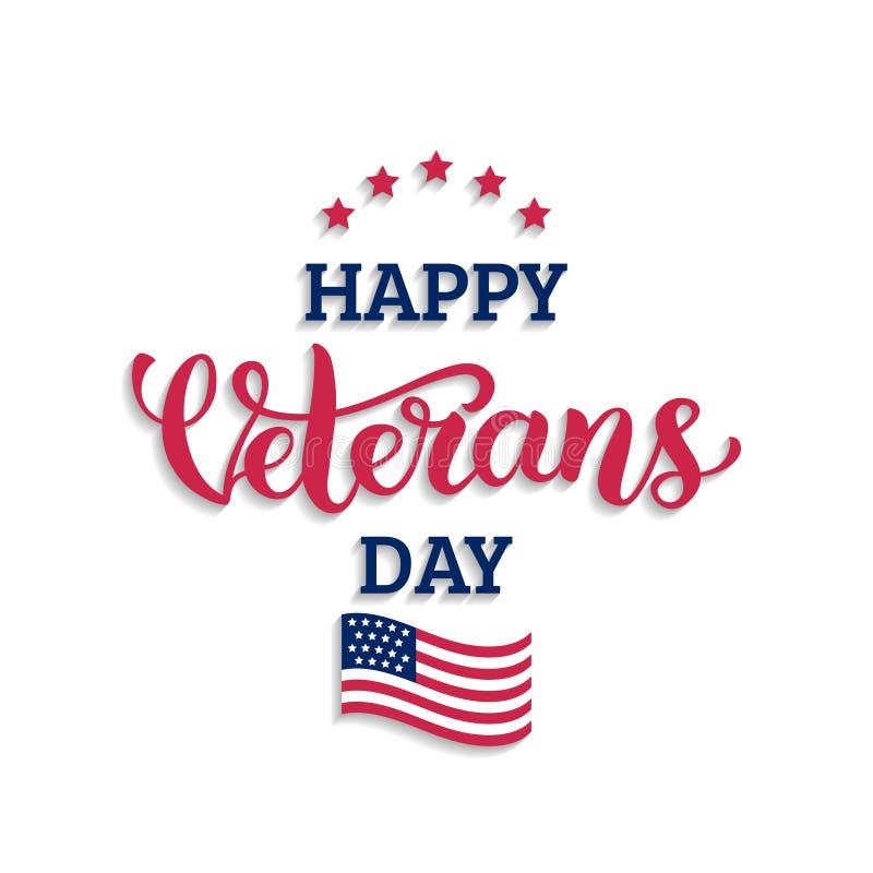 A rotulação feliz do dia de veteranos com EUA embandeira a ilustração 11 de novembro fundo do feriado Cart?o no vetor ilustração stock
