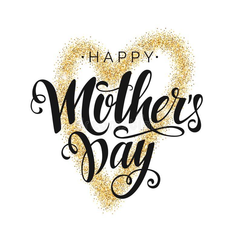 Rotulação feliz do roteiro do preto do vetor do dia de mãe no fundo branco com coração do ouro ilustração do vetor