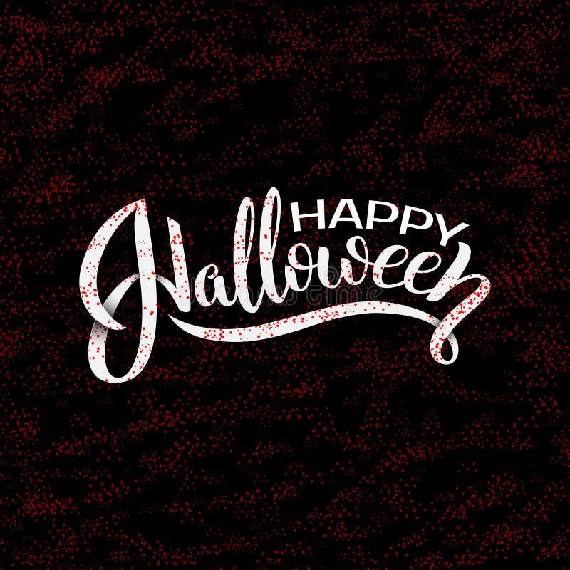 Rotulação feliz do vetor de Dia das Bruxas Caligrafia do feriado com aranha e Web para a bandeira, cartaz, cartão, partido ilustração stock